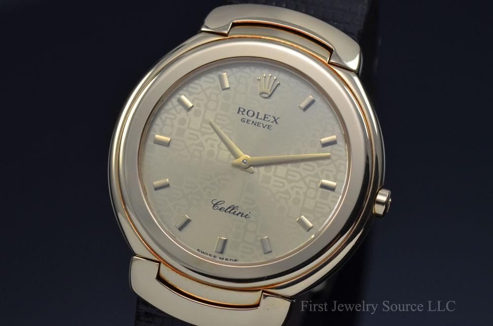 Mens Rolex Cellini 18k Yellow Gold Quartz Champagne Jubilee Watch 6623 Luxury Brand Watches