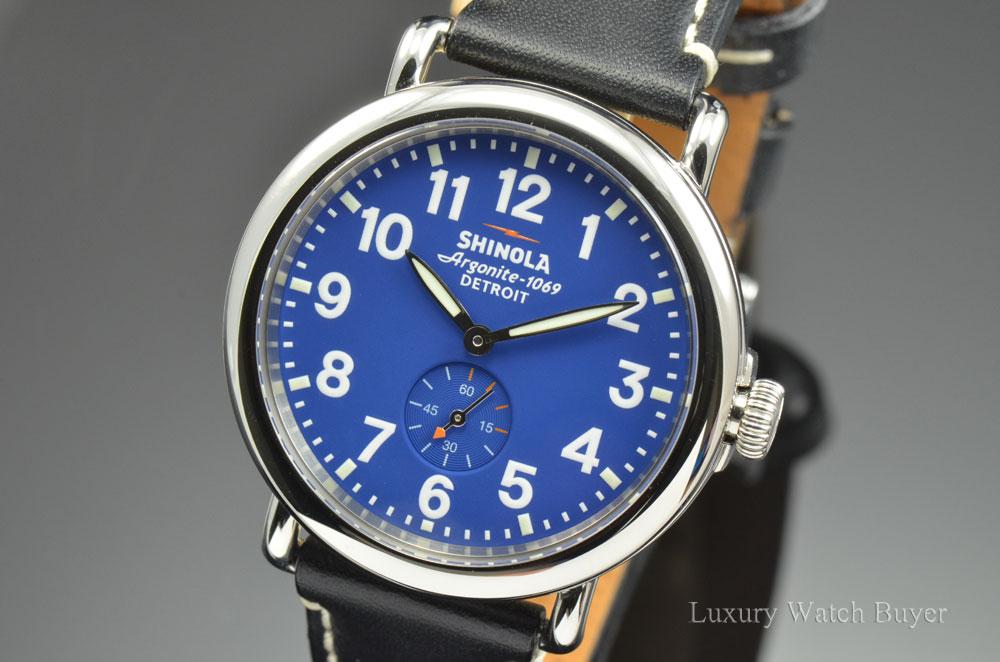 5baca3899 Mens Shinola Runwell 41MM Black Horween Leather Strap Quartz Royal Blue  Dial Watch