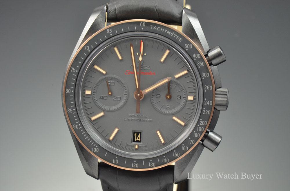 Omega Authorized Dealer >> NEW Mens Omega Speedmaster Professional Dark Side of the Moon Gold Sedna Chronograph 9300 ...
