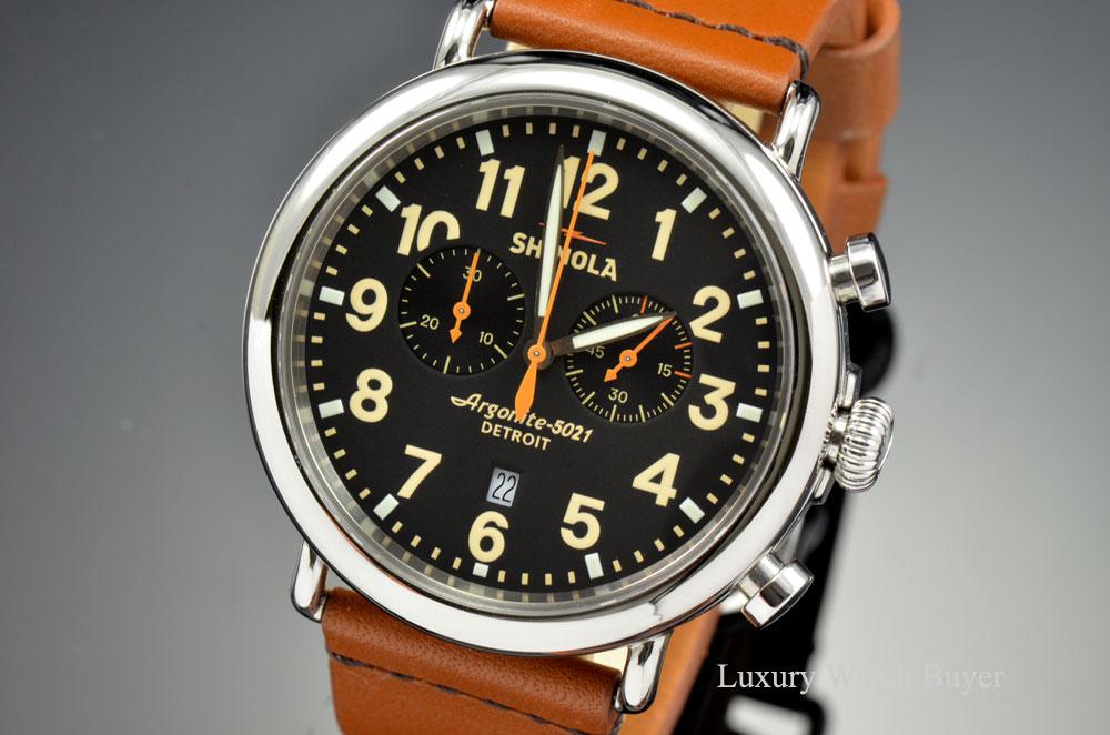 Mens shinola detroit the runwell chrono 47mm argonite 5021 quartz black dial watch luxury for Argonite watches