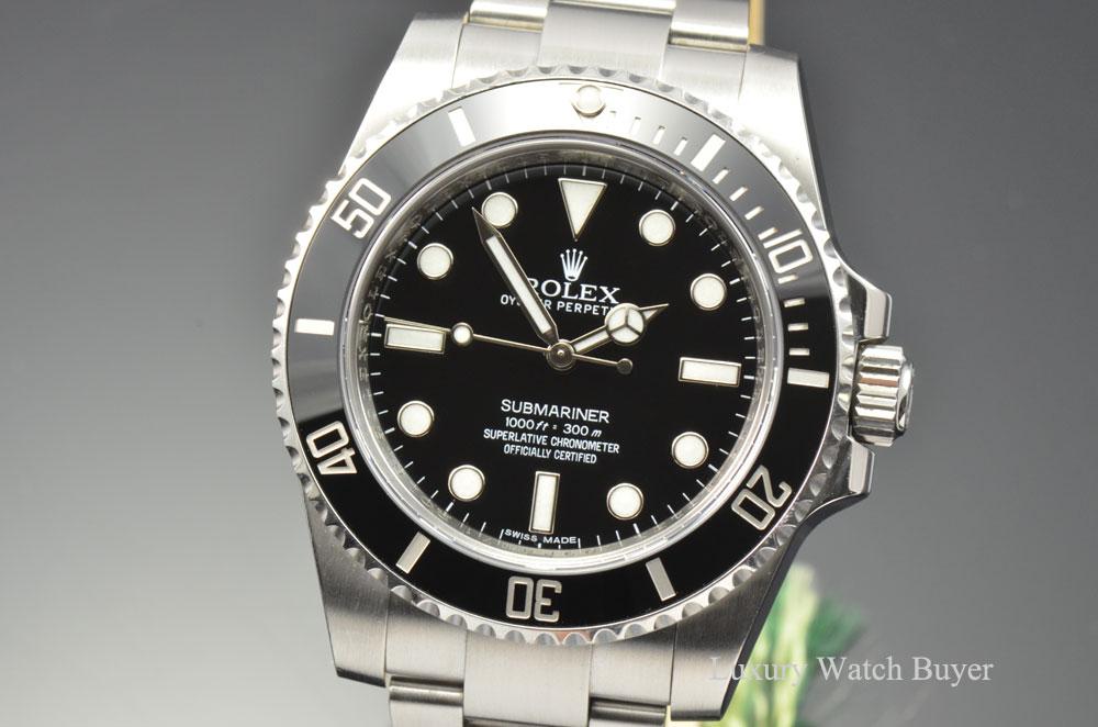 2014 Mens Rolex No Date Ceramic Submariner Black Dial