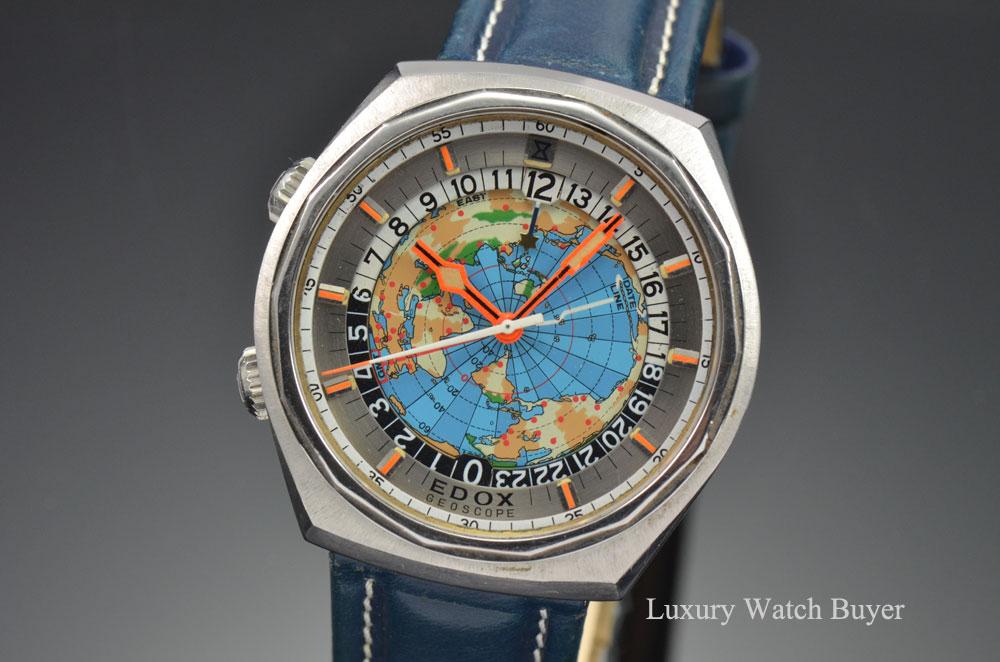 1970 Edox Geoscope GMT Worldtimer Stainless Steel ...